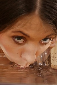 Gorgeous Brunette Dives Into A Puddle Of Her Pee