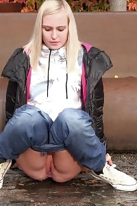 European Darling Squats To Pee While Outside