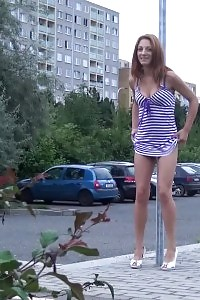 Ginger Honey Leans Against A Post To Piss