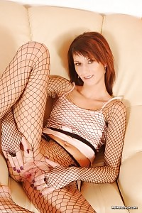 Amanda Gapes Her Muffy Gap Open For You Through Her Fishnet Nylons