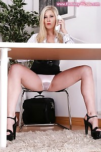Naughty Secretary Autumn Accepts A Call Phones In Her Satin Panties Under The Table