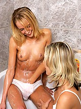 Angelic blondes lather and rinse in bathtub