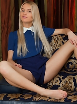 seductive Xena strips and flashes her bloody hot body and scrumptious pussy on the sofa.